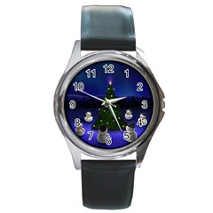 Xmas6 Round Metal Watch