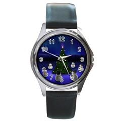 xmas6 Round Metal Watch