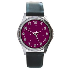 Purple White Dots Black Leather Watch (Round)