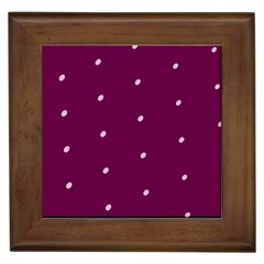 Purple White Dots Framed Ceramic Tile
