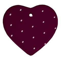 Purple White Dots Ceramic Ornament (Heart)