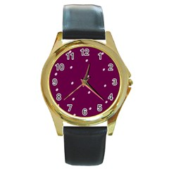 Purple White Dots Round Gold Metal Watch
