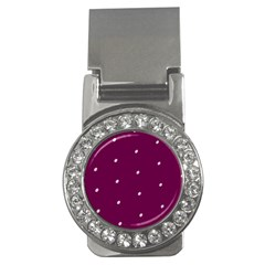 Purple White Dots Money Clip (CZ)
