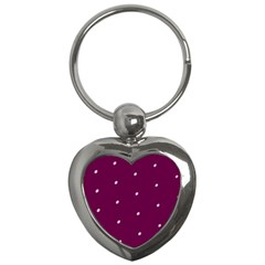 Purple White Dots Key Chain (Heart)