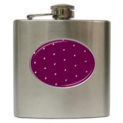 Purple White Dots Hip Flask (6 oz)