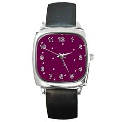 Purple White Dots Square Metal Watch