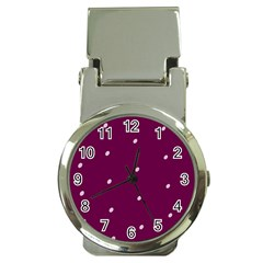 Purple White Dots Money Clip Watch