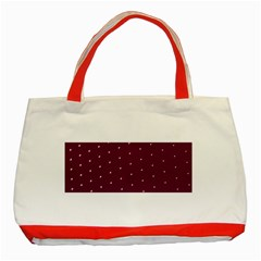Purple White Dots Classic Tote Bag (Red)