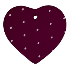 Purple White Dots Heart Ornament (Two Sides)