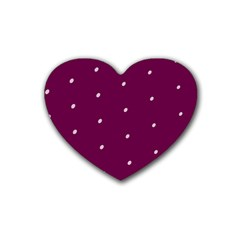 Purple White Dots Rubber Coaster (Heart)
