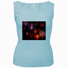 Fireworks Baby Blue Womens  Tank Top