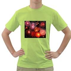 Fireworks Green Mens  T Shirt