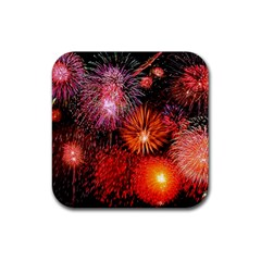 Fireworks 4 Pack Rubber Drinks Coaster (Square)