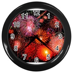 Fireworks Black Wall Clock