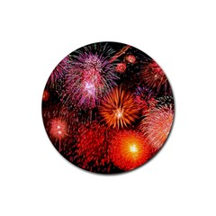 Fireworks 4 Pack Rubber Drinks Coaster (round)