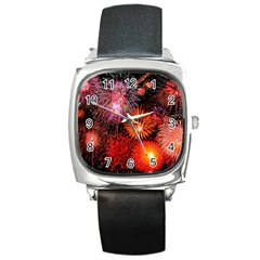 Fireworks Black Leather Watch (Square)
