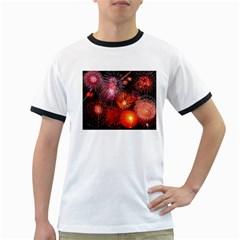 Fireworks White Ringer Mens'' T-shirt