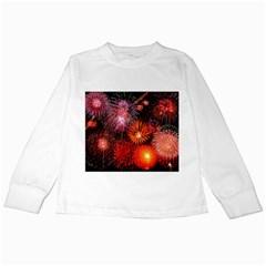 Fireworks White Long Sleeve Kids'' T-shirt