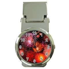 Fireworks Chrome Money Clip with Watch