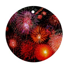 Fireworks Twin Sided Ceramic Ornament (round)