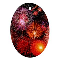 Fireworks Oval Ornament (Two Sides)