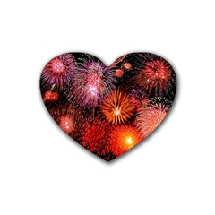 Fireworks 4 Pack Rubber Drinks Coaster (Heart)