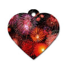 Fireworks Single-sided Dog Tag (Heart)