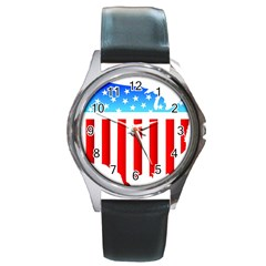 Usa Flag Map Black Leather Watch (round)