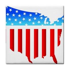 USA Flag Map Ceramic Tile