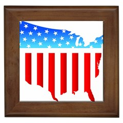 USA Flag Map Framed Ceramic Tile