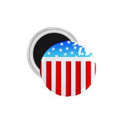 Usa Flag Map Small Magnet (round)