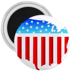USA Flag Map Large Magnet (Round)
