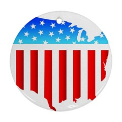 Usa Flag Map Ceramic Ornament (round)