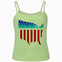Usa Flag Map Green Spaghetti Top