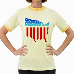 Usa Flag Map Colored Ringer Womens  T Shirt