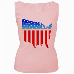 USA Flag Map Pink Womens  Tank Top