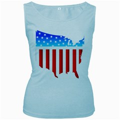 Usa Flag Map Baby Blue Womens  Tank Top