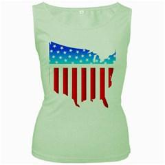 USA Flag Map Green Womens  T-shirt