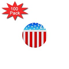 Usa Flag Map 100 Pack Mini Button (round)
