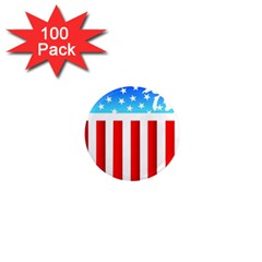 USA Flag Map 100 Pack Mini Magnet (Round)