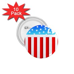 USA Flag Map 10 Pack Small Button (Round)