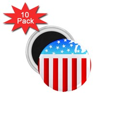 Usa Flag Map 10 Pack Small Magnet (round)