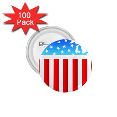 Usa Flag Map 100 Pack Small Button (round)
