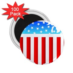 USA Flag Map 100 Pack Regular Magnet (Round)