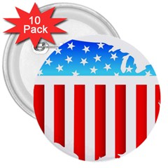 Usa Flag Map 10 Pack Large Button (round)