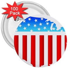 USA Flag Map 100 Pack Large Button (Round)
