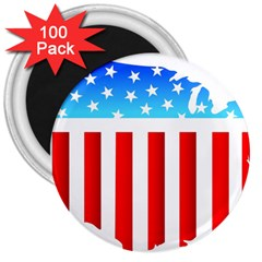 USA Flag Map 100 Pack Large Magnet (Round)