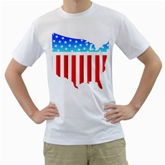 USA Flag Map White Mens  T-shirt
