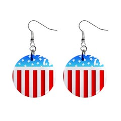 USA Flag Map Mini Button Earrings