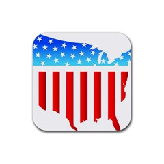 USA Flag Map 4 Pack Rubber Drinks Coaster (Square)